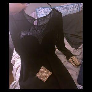 Black super sexy cocktail dress gold cuffs